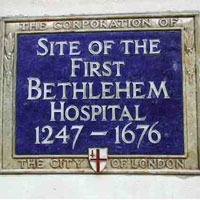 Sign on wall of Great Eastern London - Bedlam
